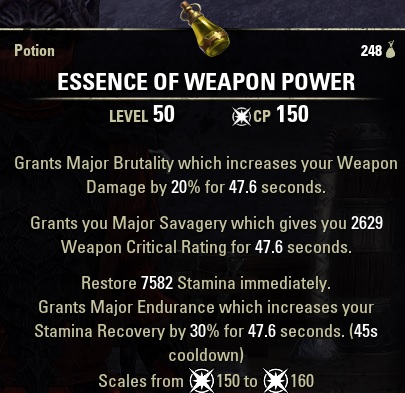 Essence of Weapon Power Potion ESO