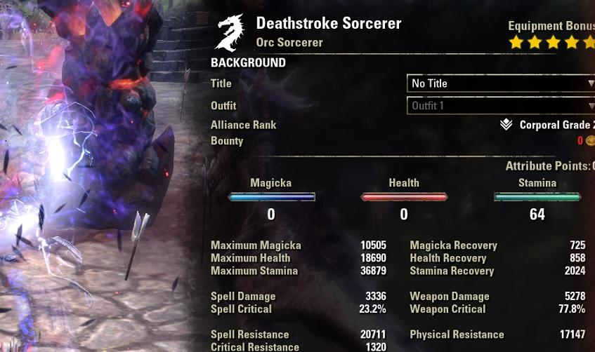 2H Stamina Sorcerer Build buffed stats