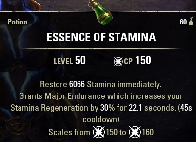 Essence of Stamina Potion ESO