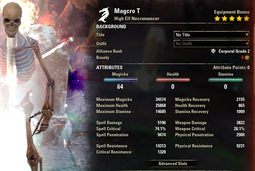 Magicka Necromancer DPS build Curse buffed stats ESO