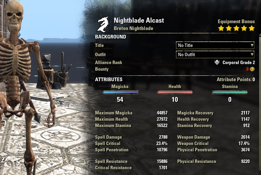 Magicka Nightblade PvP Build unbuffed stats ESO30