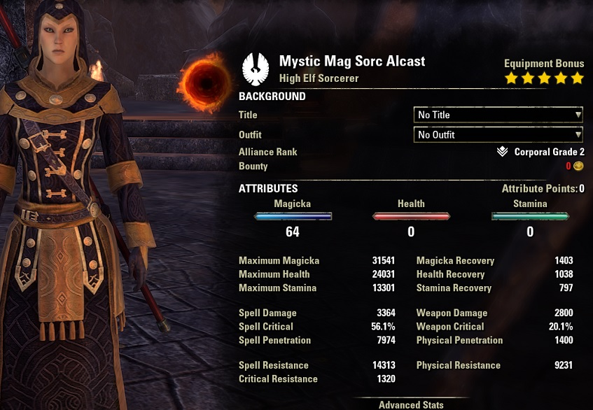 Mystic Magicka Sorcerer PvE Build unbuffed stats pet setup ESO