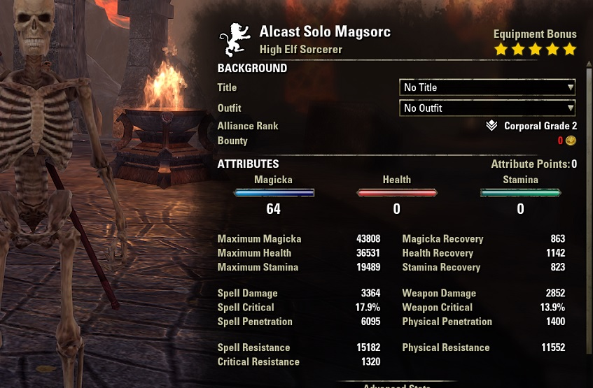 One Bar Sorcerer Build Unbuffed Stats ESO1