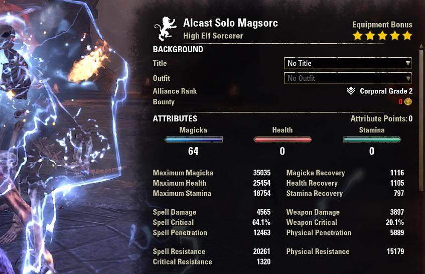 Solo Magicka Sorcerer Build buffed Stats ESO1