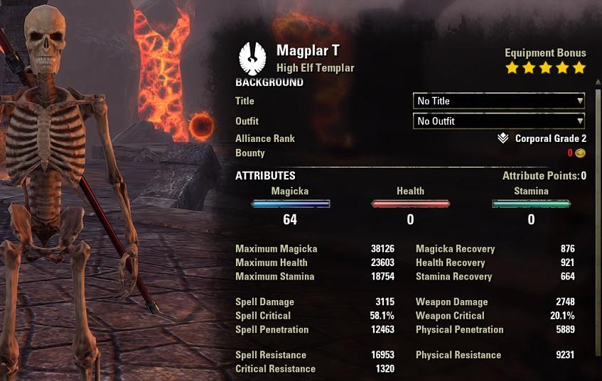 Solo Magicka Templar Unbuffed Stats ESO1