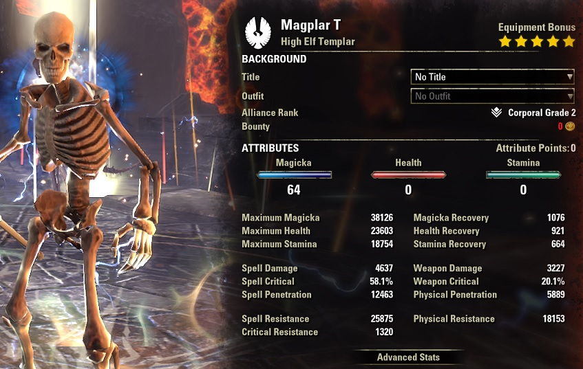 Solo Magicka Templar buffed Stats ESO1