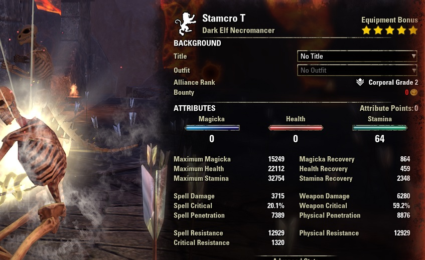 Solo Stamina Necromancer PvE Build buffed stats ESO1jpg