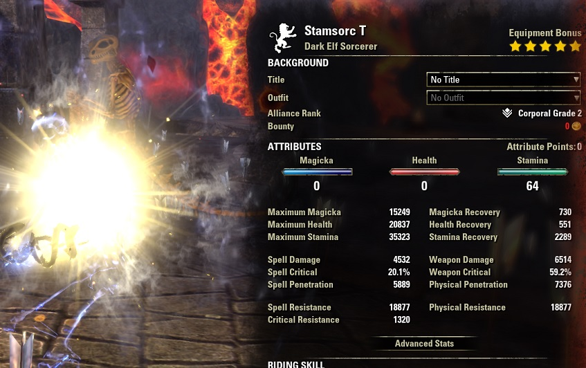 Solo Stamina Sorcerer Build PvE buffed stats ESO1