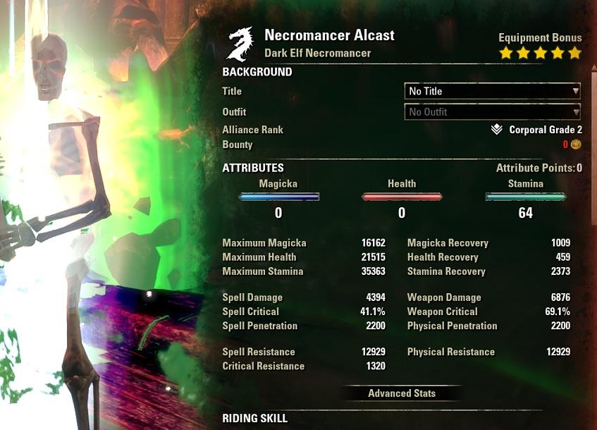 Stamina Necromancer Two Hander 2H Build buffed stats ESO30