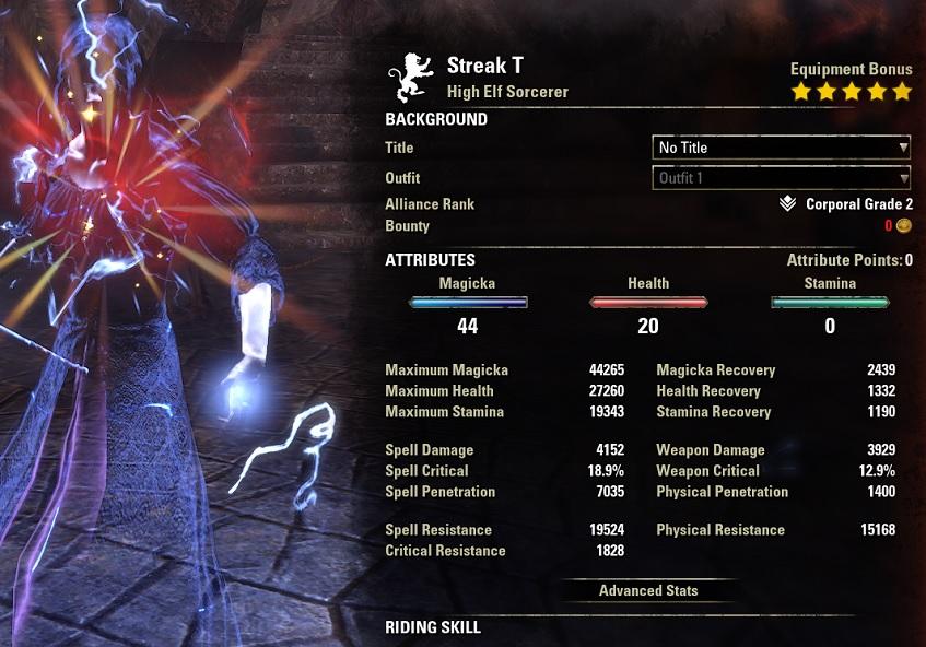 Streak Magicka Sorcerer PvP Build buffed stats ESO