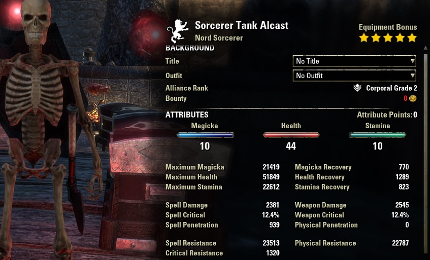Sorcerer Tank Build unbuffed stats ESO30