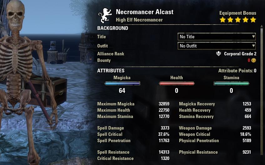 Vampire Necromancer solo build pve unbuffed stats ESO30