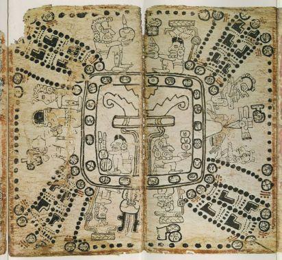 """Códice maya de Madrid, páginas. 75-76. La ceiba como """"Eje del Mundo"""""""