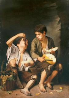 Niños comiendo uvas y melón. Bartolomé Esteban Murillo, hacia 1650 (Alte Pinakothek, Múnich)