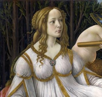 Venus sobre fondo de mirtos en Venus y Marte de Sandro Botticelli, 1483. National Gallery, Londres