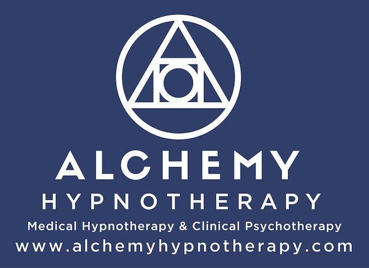 The Alchemy Hypnotherapy Logo White on blue background.