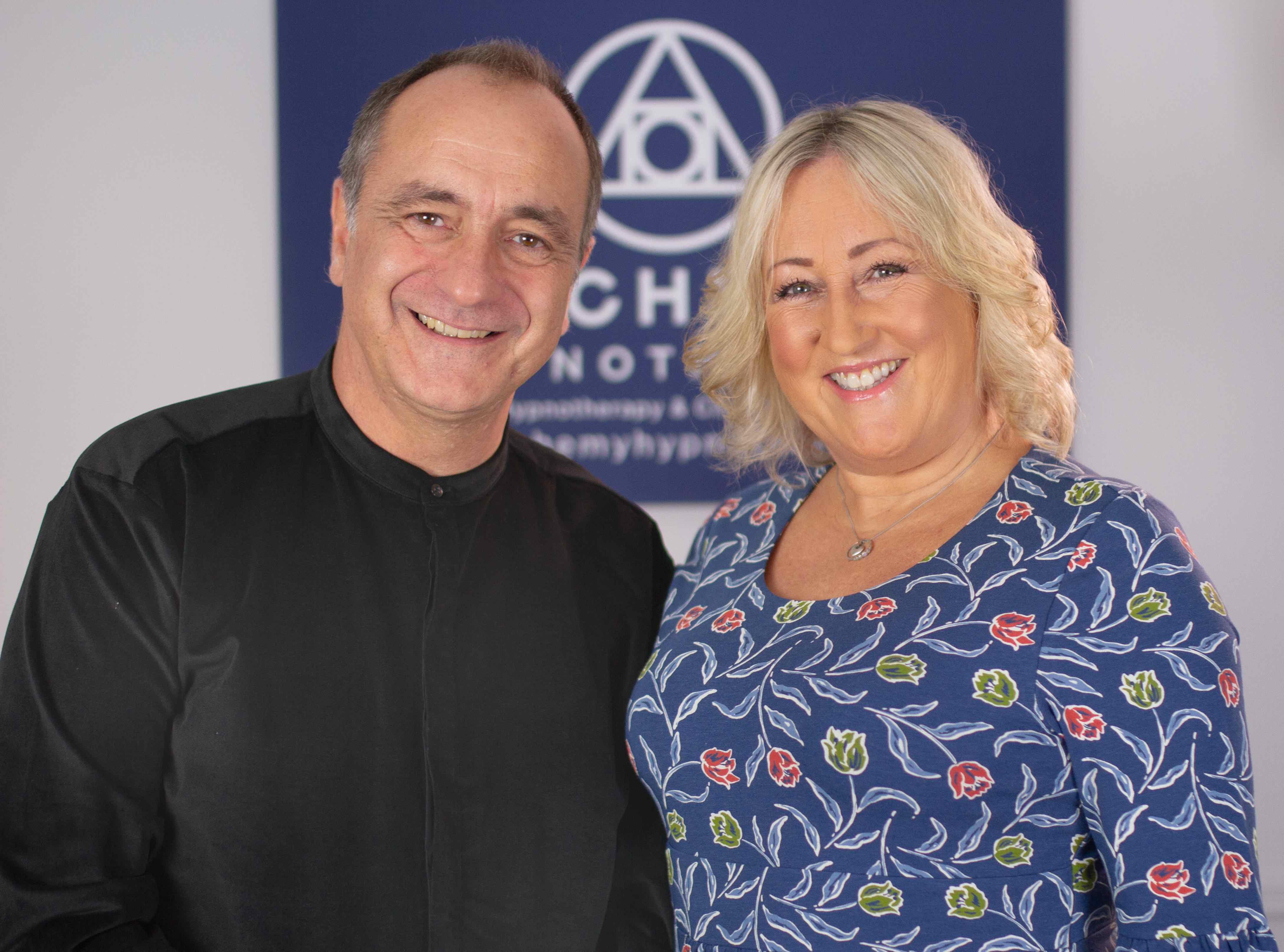This photo shows Gareth and Enfys, The Alchemists at Alchemy Hypnotherapy
