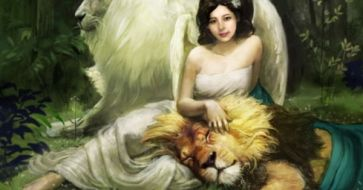 lion and angels