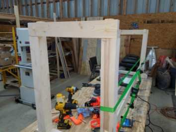 Pine Workbench - Gluing up the legs