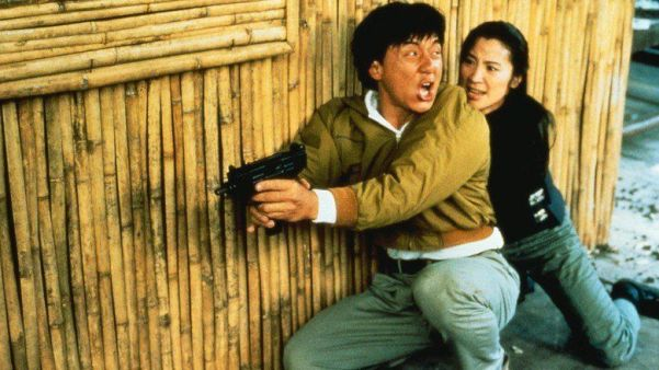 Jackie Chan and Michelle Yeoh ready to spring into action in a scene in Police Story 3: Super Cop. (www.alchetron.com)