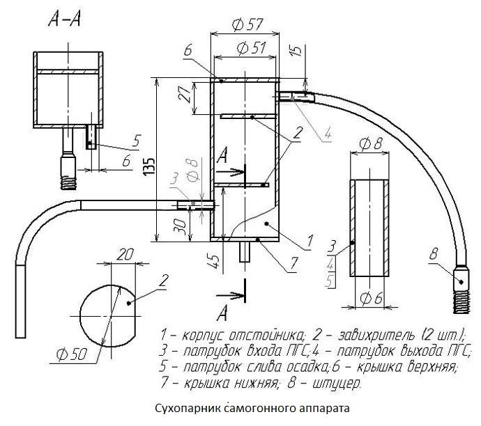 чертеж сухопарника для самогонного аппарата
