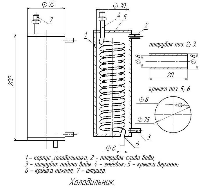правильный чертеж холодильника в дистилляторе