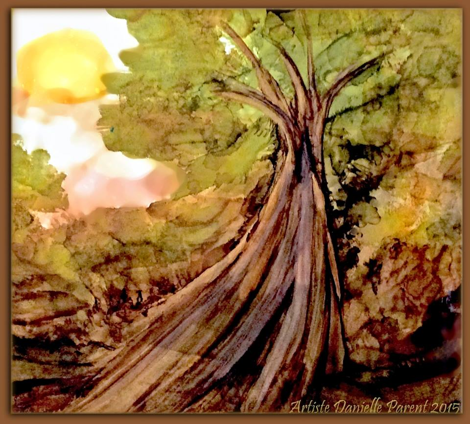 This painting was created on a background from ink I saved on finger painting paper and painted the tree on top of the background.