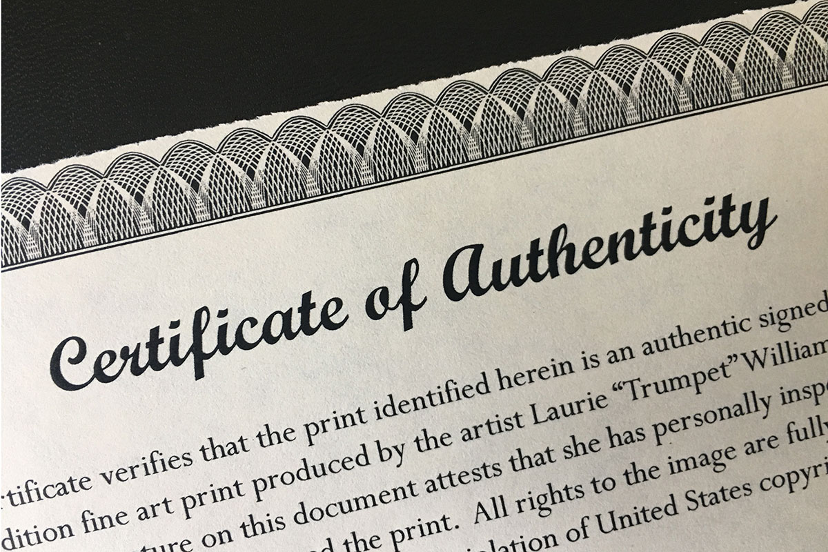 Certificate of authenticity preparing art and prints alcohol what is a certificate of authority certificate of authenticity alramifo Images