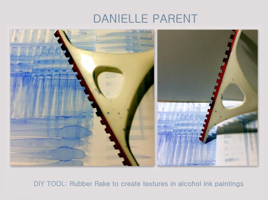 DIY Tool: Rubber Rake to create textures in alcohol ink paintings