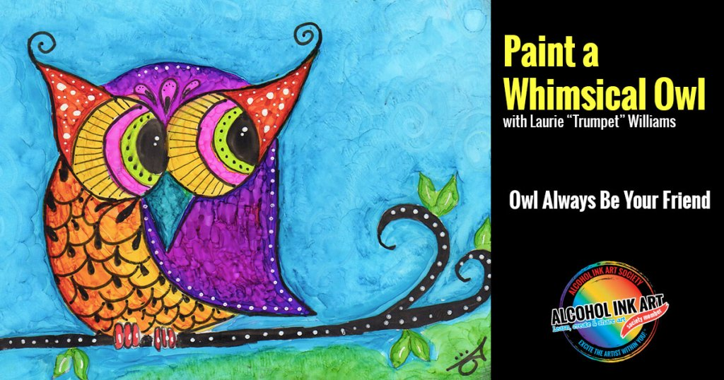 Paint with Alcohol Ink - Whimsical Owl