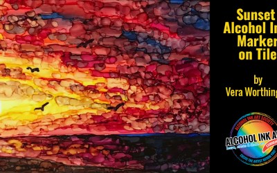 Alcohol Ink Markers on Tile – Painting a Sunset