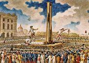 Pintura de época representando la decapitación de Luis XVI de Francia