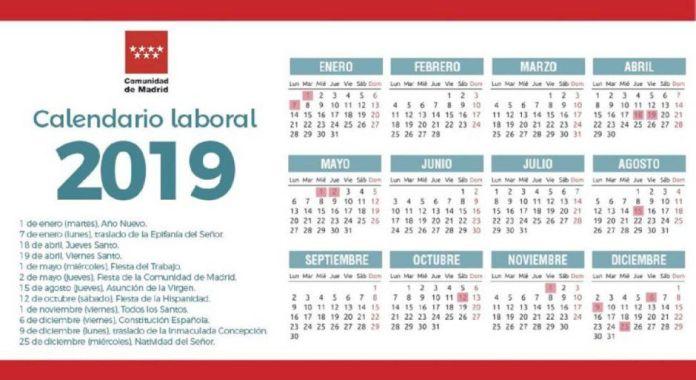 Calendario laboral de Alcorcón 2019