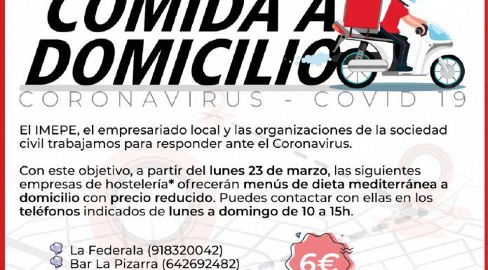 Desde el lunes 23 de marzo menús a domicilio por 6 euros en Alcorcón
