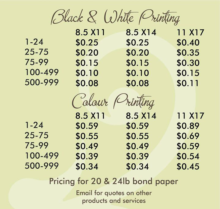Prices at Alcott for Printing