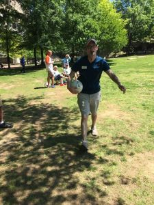 Daniel Tait of Alabama Center for Sustainable Energy referring the first Huntsville Human Foosball tournament