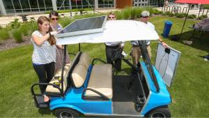 solar powered golf cart installation