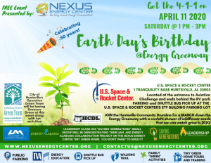 Earth Day 2020 Celebration @ Energy Greenway at the US Space and Rocket CenterApril 11, 2020, 1pm-3pm