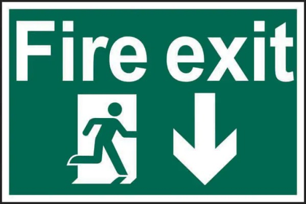 Fire Exit Running Man and Arrow Down Safety Sign