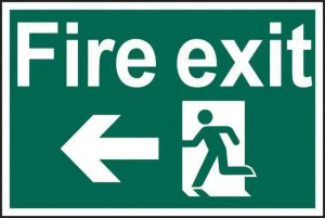 Fire Exit Running Man and Arrow Left Safety Sign