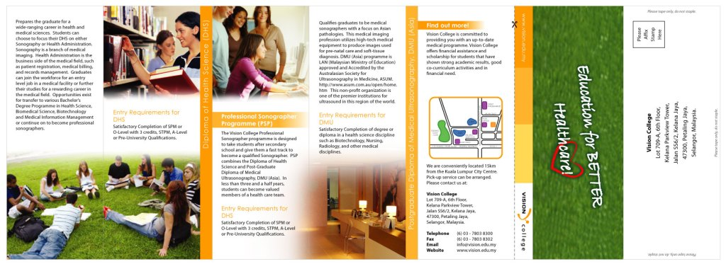 Back page of Vision College Brochure
