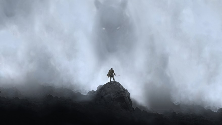 A lone warrior fighting the giant from the mists and shadows