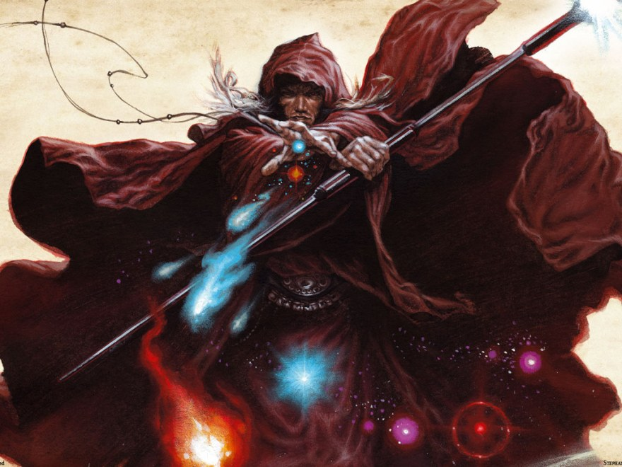 Raistlin Majere donning the red robes and casting his magic