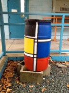 Mondrian inspired rain barrel-in place!