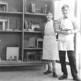 Showing off their woodworking skills - date unknown.