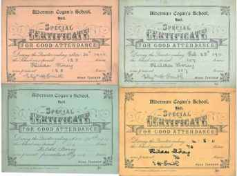 Attendance certificates awarded to Hilda Storey.