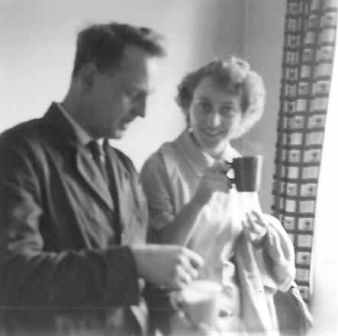 Woodwork and domestic science teacher having a well-earned brew! Date unknown.