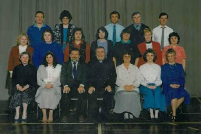 School staff 1996 - Headteacher Rev J. Leeman.