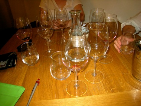 The tasting glasses were red Bordeaux style (i.e. claret)—these are often used for Chianti, etc.