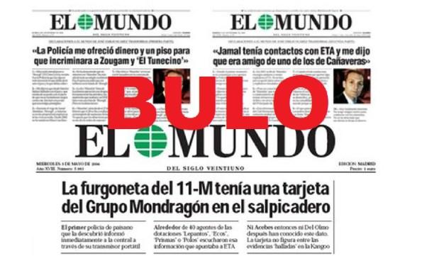 Trozos de portadas de El Mundo difundiendo bulos sobre los atentados del metro del 11M en 2004. Autor y Fuente: Maldita.es, 2020 (CC BY-SA 3.0.)